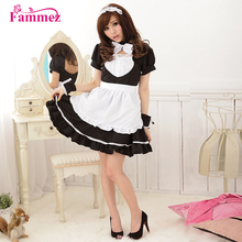 Newest cotton maid uniform maid dress for coffee shop staff's dress