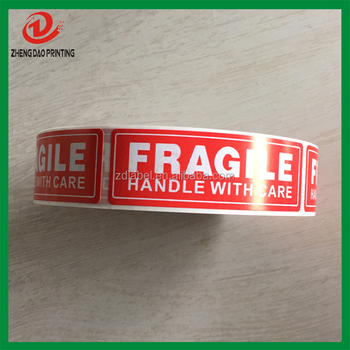 "Warning Shipping Fragile Stickers 1""x3"", 1000 labels one roll"