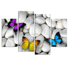 4 Panel Canvas Wall Art/modern Zen Stone Canvas/butterfly Wall Picture