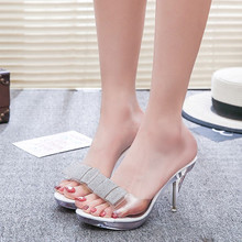 F175 women summer indoor rubber soles flip flops platform high heel slipper
