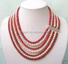 vintage fashion red round natural coral & pearl necklace