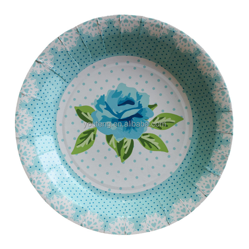 Yiwu party supplies tableware Wholesale 9 inch Vintage Dinner Party Plates Printed Save the Date kraft Round paper plates
