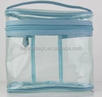 custom printed promotional zipper clear pvc cosmetic case PVC big round cosmetic bag