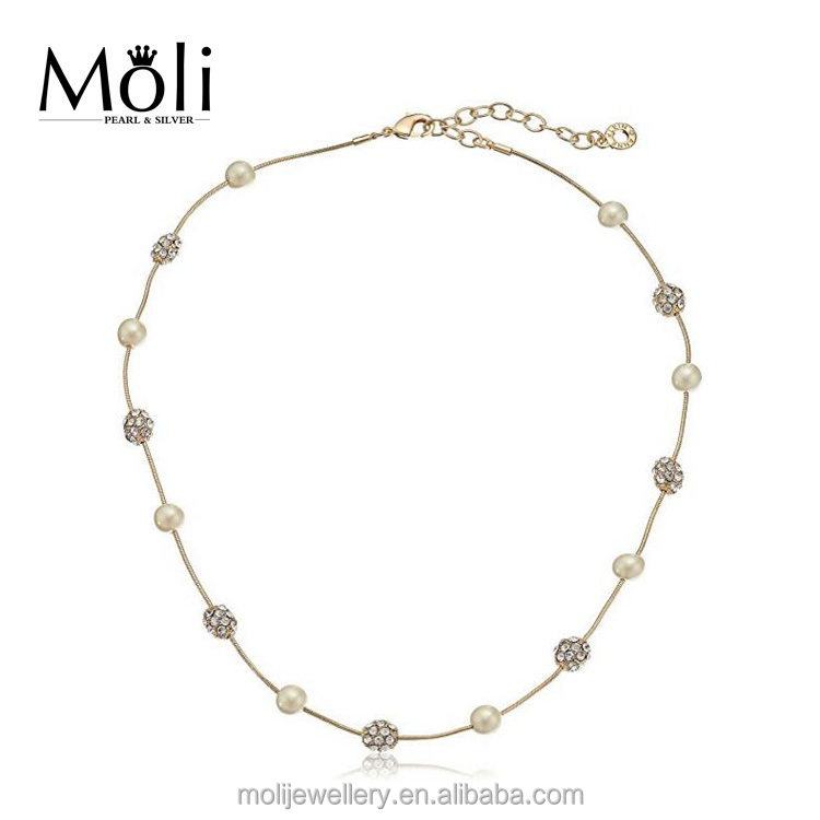 Fashion Metallic Crystal Beads Gold Plated Stainless Steel Chain Pearl Necklace Jewellery