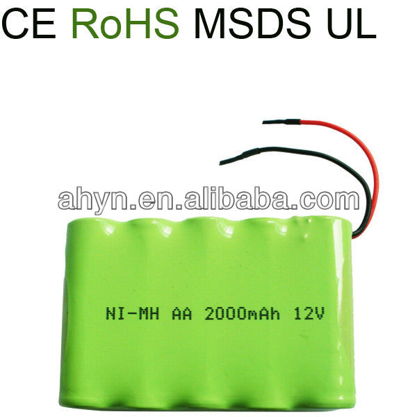 aa size ni-mh 2000mah 12v rechargeable battery packing for Metal Detectors