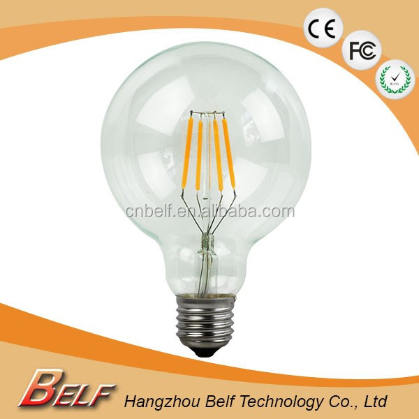 Quality Realiable Edison style Amber / Clear glass G95 led filament globe lighting lamp china supplier dimmable e27 base