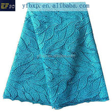 Eco friendly material teal blue water soluble lace/ french lace bridal fabric/ korean lace fabric for wedding dress 2015