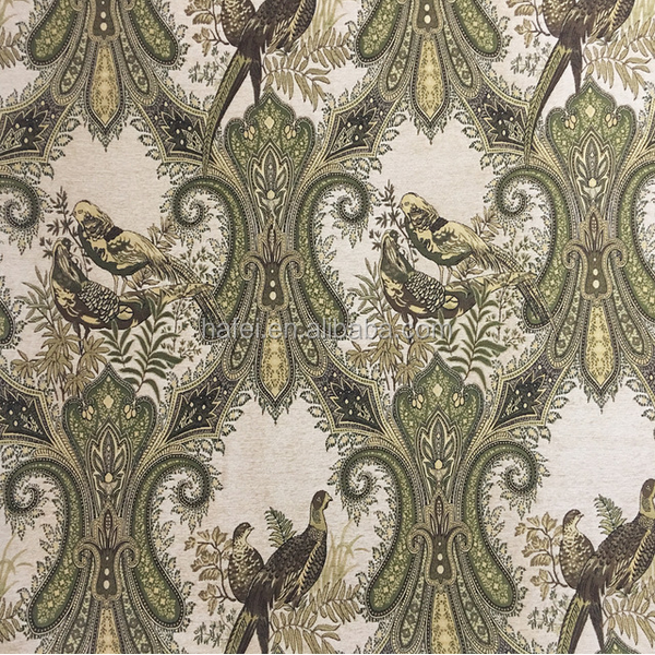 Classical Vintage Bird Paisley Jacquard Chenille Sofa Curtain Upholstery Fabric