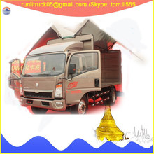 China sinotruck howo light truck supplier for ZZ1047D3414D145 howo right hand drive 6 wheels 3ton used cargo truck sale in fiji