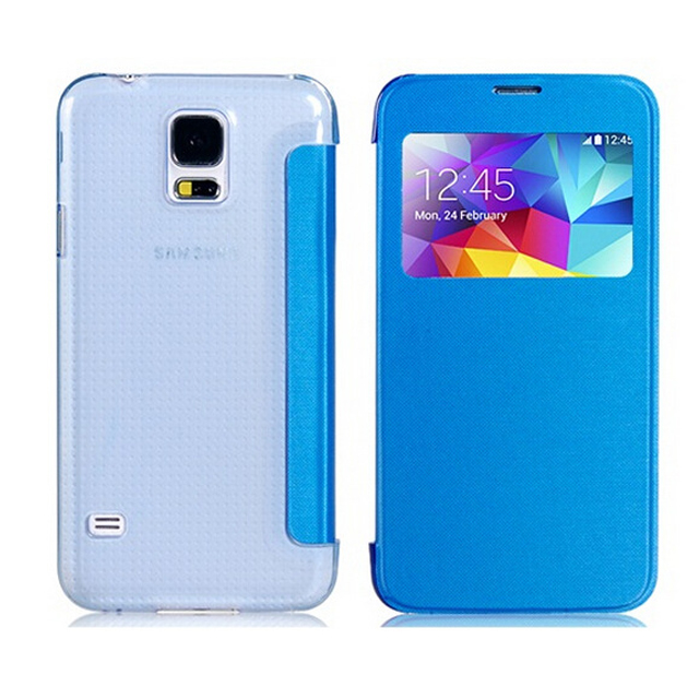Slim Window View Leather Phone Case for Samsung Galaxy S5,For Samsung S5 Flip Cover