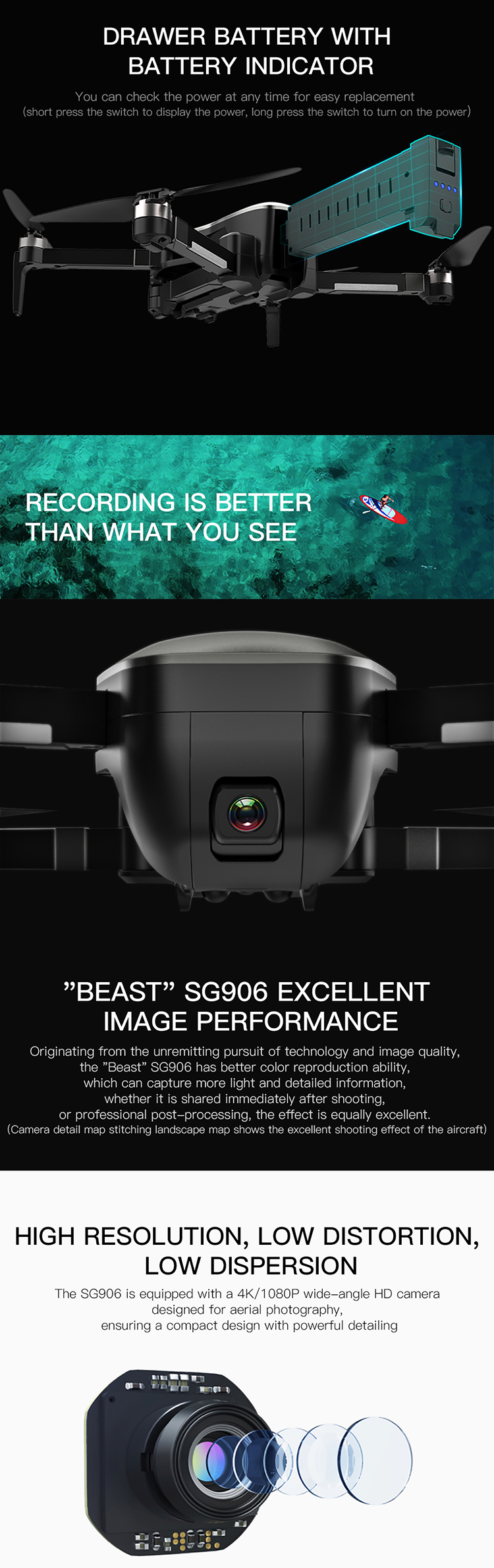 Reliable and cheap SG906 GPS 5G WiFI FPV brushless folding camera selfie 4k drone professional