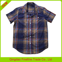 Summer yarn dyed check short sleeve kids boys fancy shirts