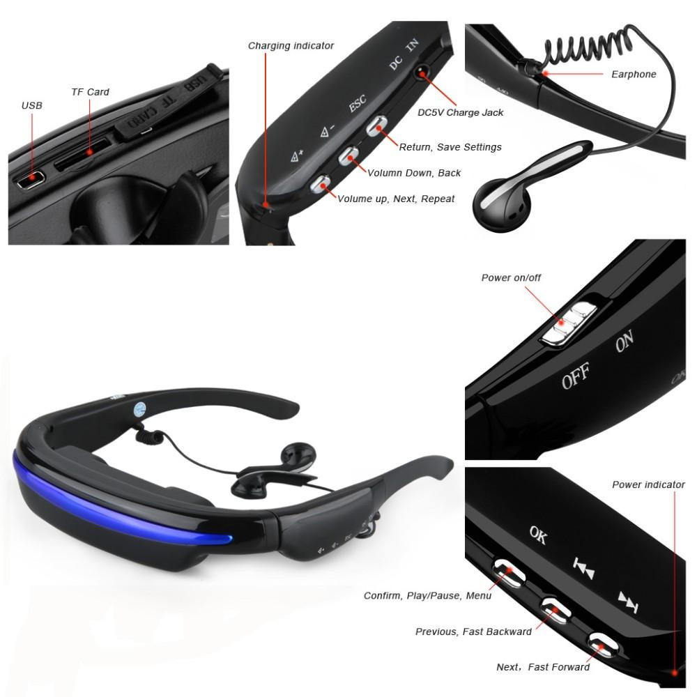 Portable theater 52 large inch virtual screen hd video glasses, built-in 4GB memory with AV-IN