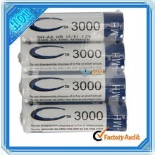 Hot Selling AA 1.2V 3000mAh Rechargeable Ni-MH Battery