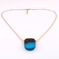 simple unisex retro geo square clear blue pendant necklace for gift