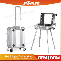 Sunrise Professional Best Selling China Supplier Aluminum Make Up Trolley Case with lighted mirror