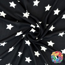 Charming Black Fabric With White Stars Factory Price Woven Cotton Fabric Colorful Printed Cotton Fabric