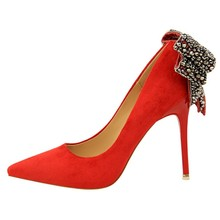 High Quality Fashion Elegant Women Suede Rhinestone Bowtie High Heel Pump Shoe