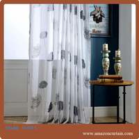 2015 High quality beautiful printed voile sheer curtain of European