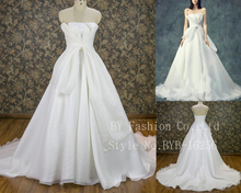 New arrival strapless nice fitting pattern organza ball gown wedding dress with small tail