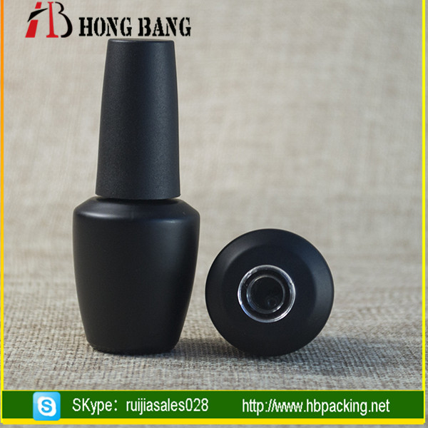 Different shape frosted 5ml 10ml 8ml 15ml empty printing glass nail gel polish bottle with matte black cap