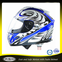 Stylish blue ABS vintage motocross helmet motorcycle full face
