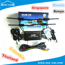 4 Tuner 4 Antenna 180KM/H mobile digital tv tuner receiver box car dvb t2 for Colombia