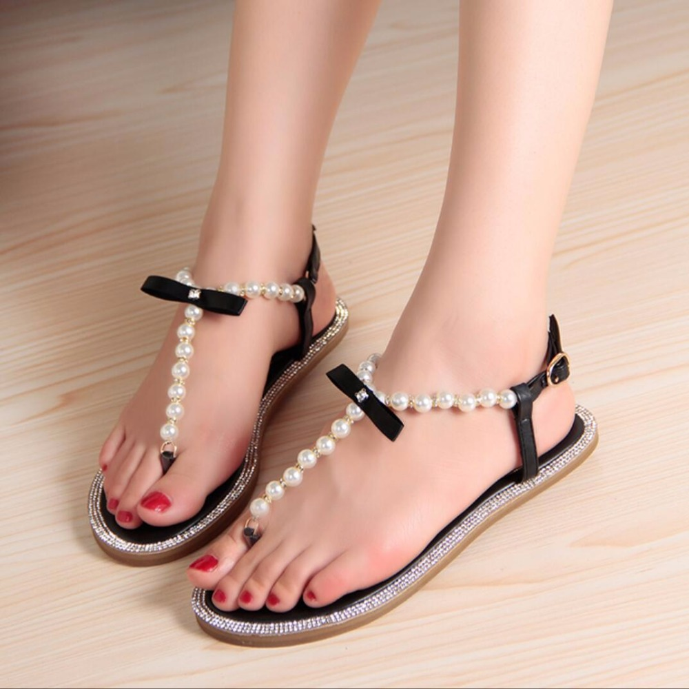 2017 Summer Fashion Shoes Girl's Bow Diamond Pearl Women Sandals Flat Sandals Woman Shoes Larger Size 33-43