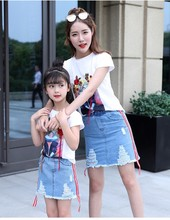 X62656A Family Matching Clothing Sets Mother Kids Casual Outfits