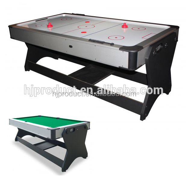Factory direct sale rotating 2 in 1 air hockey table with pool table full accessories