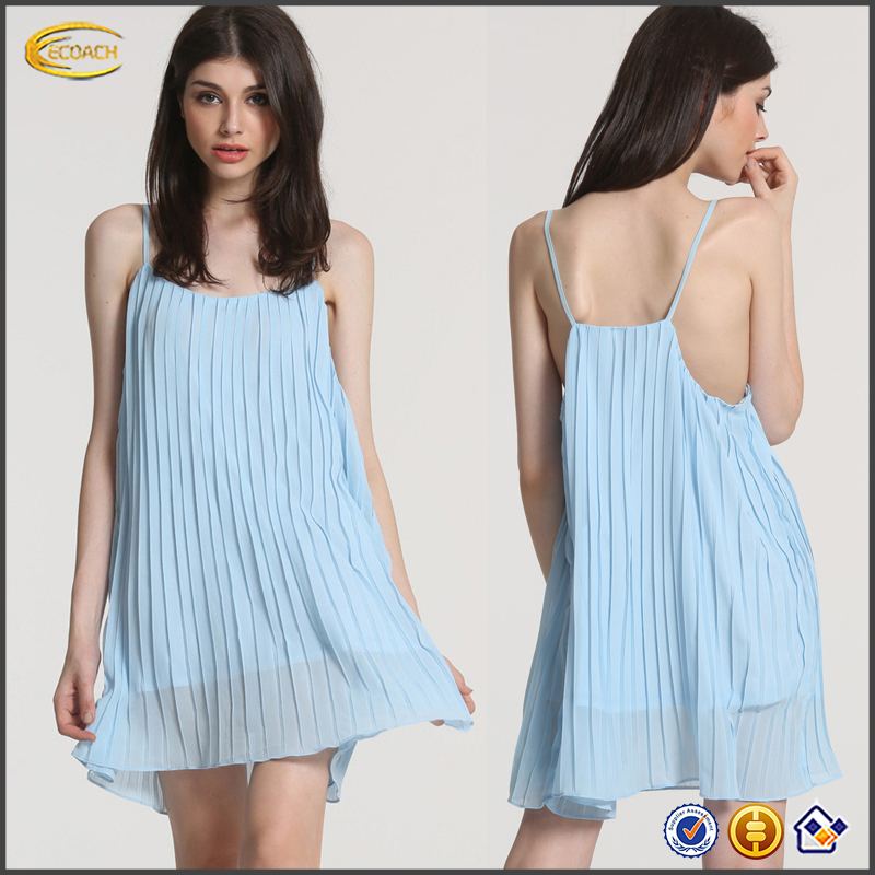 Ecoach 2016 Custom Logo Label Sexy Spaghetti Strap Pleated Solid Color Chiffon Dress For Women