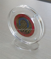 Clear Acrylic Challenge Coin Display Holder Case with Stand