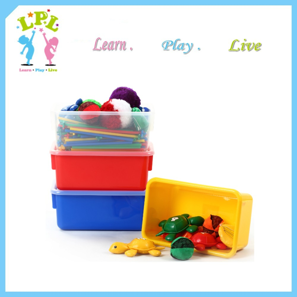 Safety rounded egde design 8L plastic storage box kids snacks and toys storage box with lid