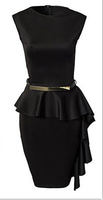 Walson 2015 Black One-Side Draped Stylish Peplum Dress big size new fashion style sexy summer On formal occasions