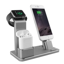 Mobile Phone Accessories 4 in 1 Phone Holder Smart Watch Charging Dock Aluminum Smart Watch Stand