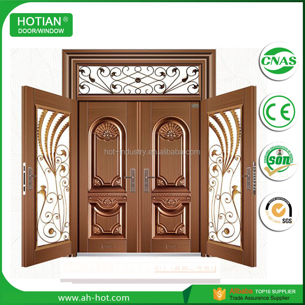 Commercial Anti-theft Double Leaf Copper Security Door for Villa Wholesale Price Garage Door