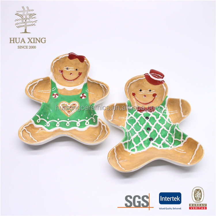 Gingerbread man shape ceramic cookie tray,plate and dishes tableware