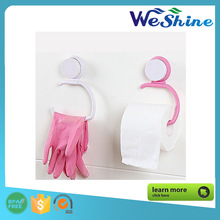 Wall suction Seamless creative kitchen paper towel rack double sucker bathroom tissue shelf towel hook