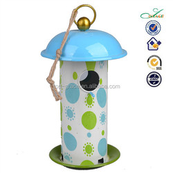 Metal Spring garden hanging decorative bird house with bird feeder