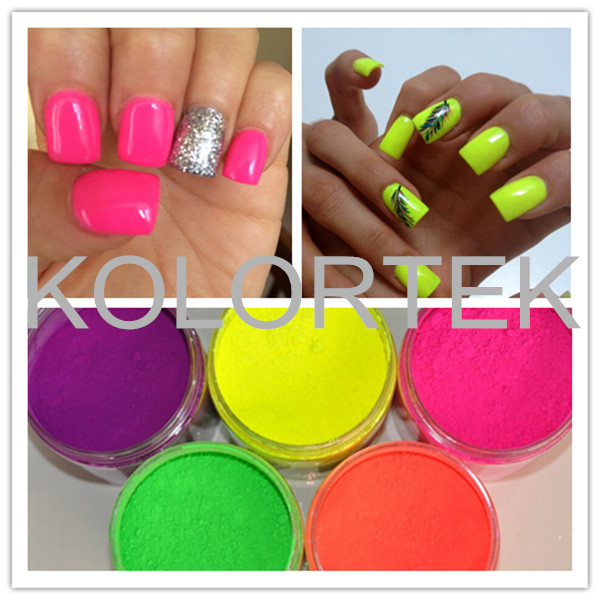 Neon colors fluorescent phosphor pigment powder for nail polish, wholesale fluorescent pigment powder