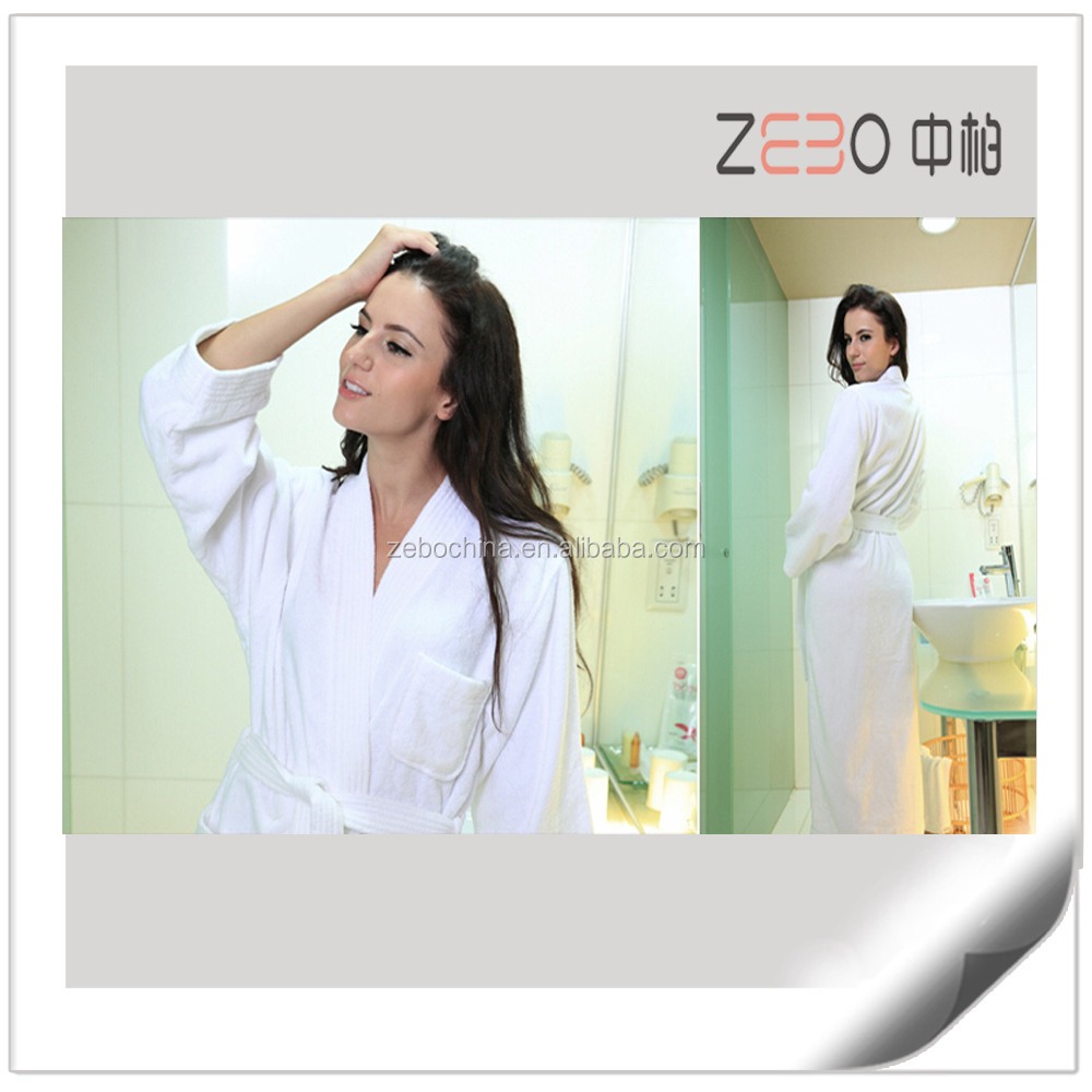 High Quality Luxury Terry Cotton Fabric with Embroidery Hilton Hotel Bathrobe