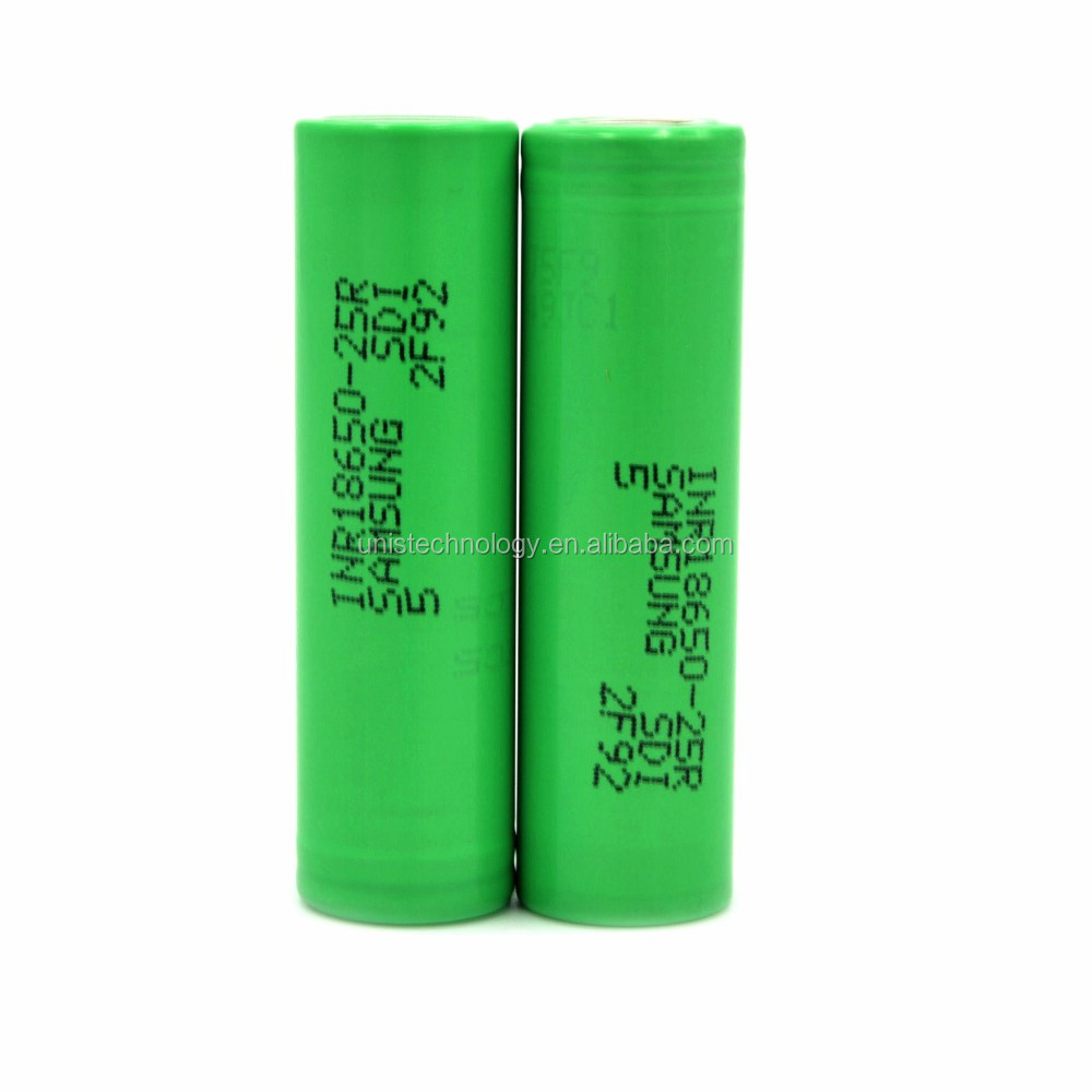 Authentic Samsung 25R 18650 battery 2500mah 20A battery Green vs lg he2/ lg he4 18650 battery