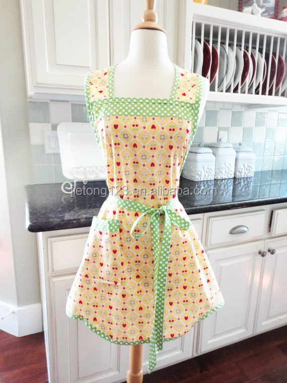 Cherry With Strawberry Woman Pretty Long Dress Bow Pocket Aprons