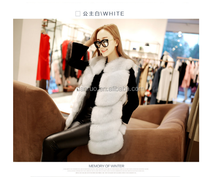 Women real white rabbit fur vest with sheep fur cost