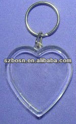 Heart shaped acrylic block;Acrylic keychain with metal ring;Key holder;