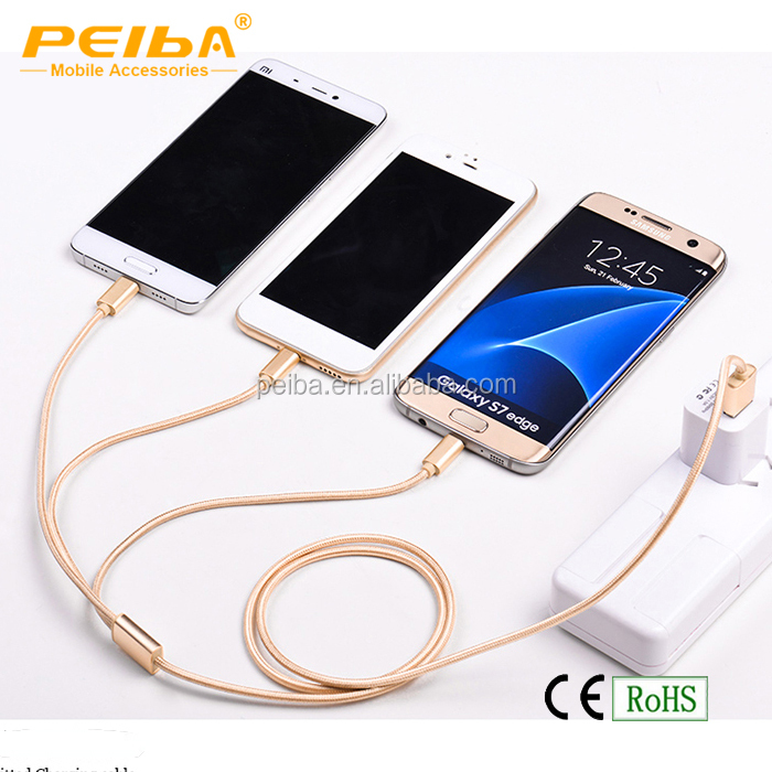 Newest design Cell phone 3 in1 flexible nylon braided usb cable for Micro Android and Type C mobile phone