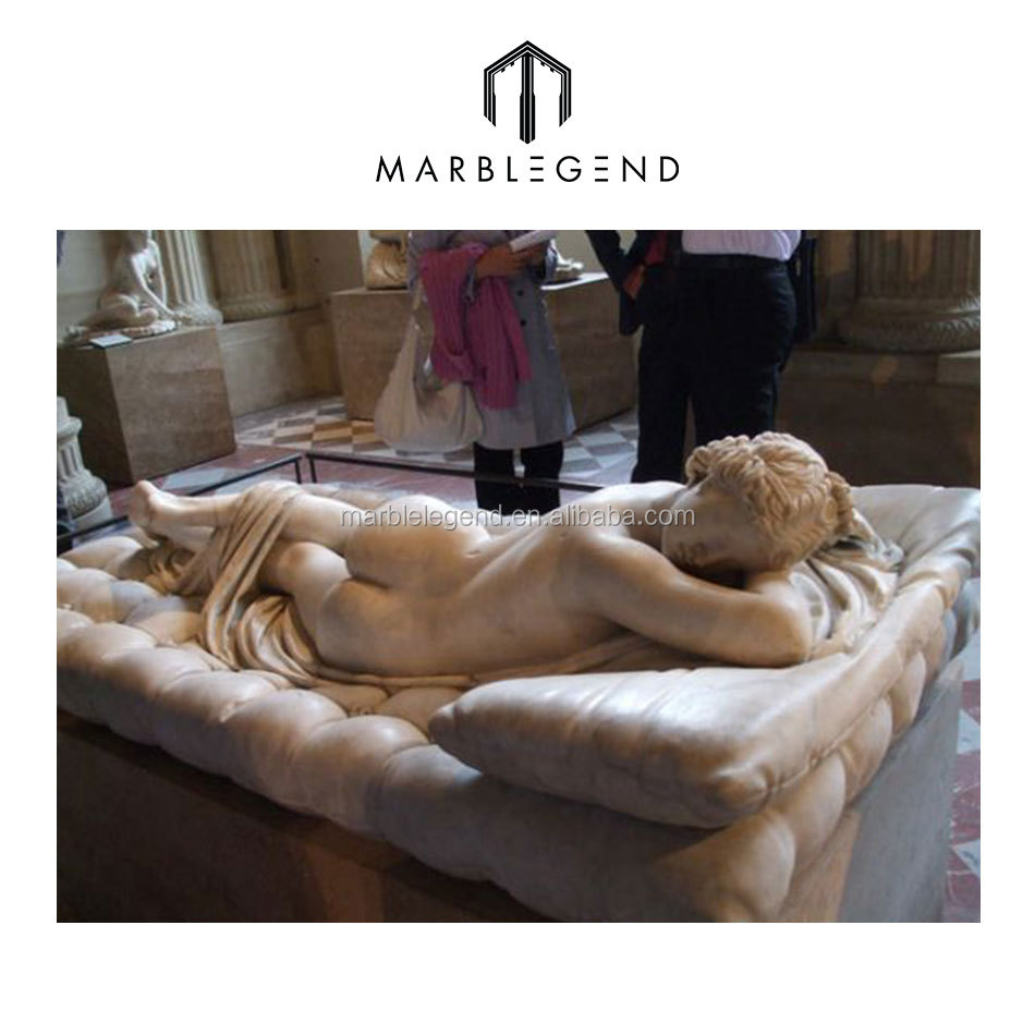 PFM hot sale high quality pure white marble nude sleeping girls for decoration