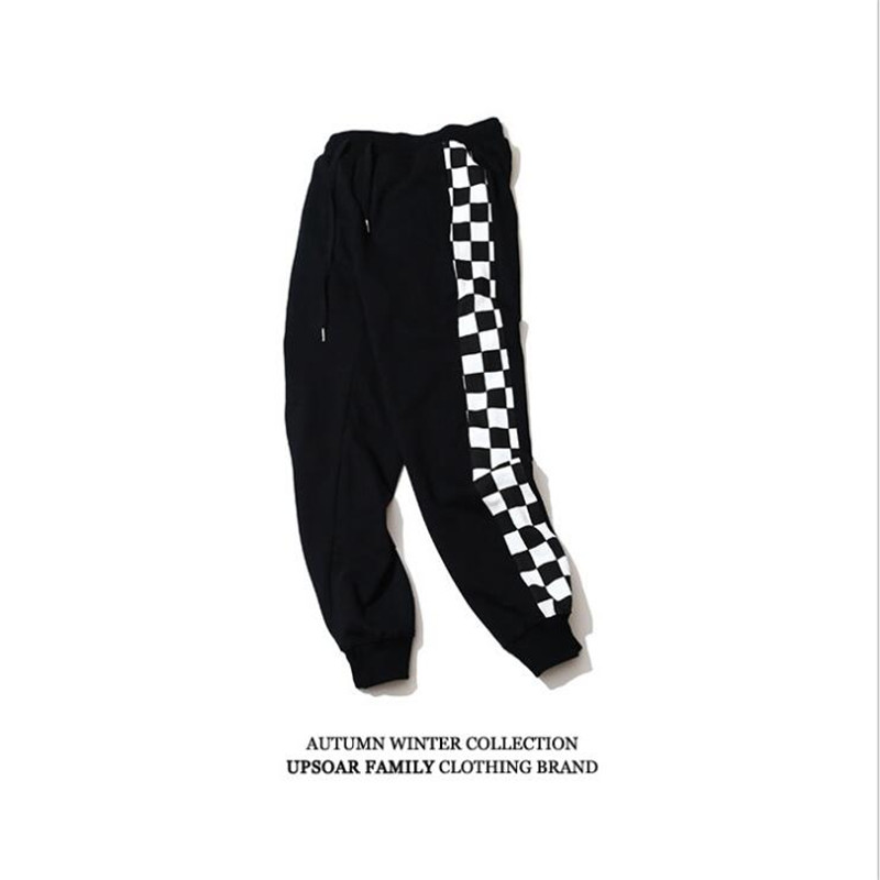 Men's Wholesale side stripe black white plaid sweatpants track drawstring pants