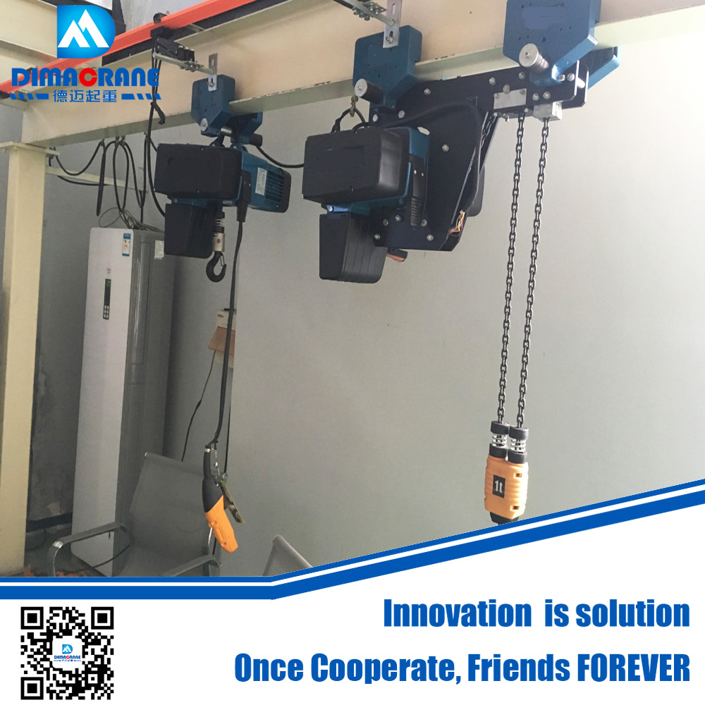 250 kg 500 kg 1 ton Demag style super low headroom type electric chain hoist in workshop