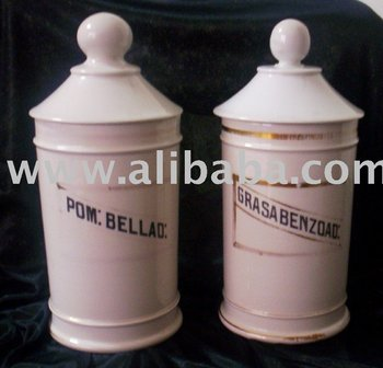 Antique Pharmacy Bottles Made Of Porcelain
